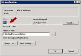 windows IIS edit application